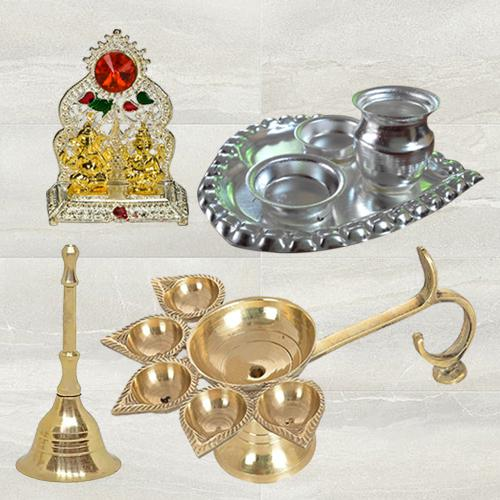 Wonderful Diya  N  Ghanti with Paan Shaped Thali N Ganesk Laxmi Mandap