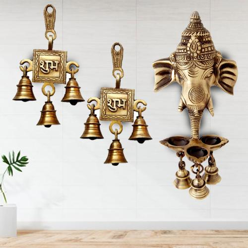 Wonderful Ganesha Wall Hanging Deepak with Bells N Shubh Labh Hanging Bells