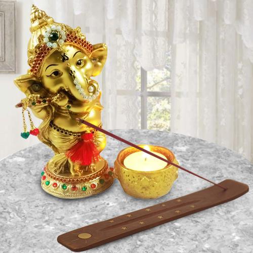 Auspicious Ganesha Idol with Agarbatti Stand