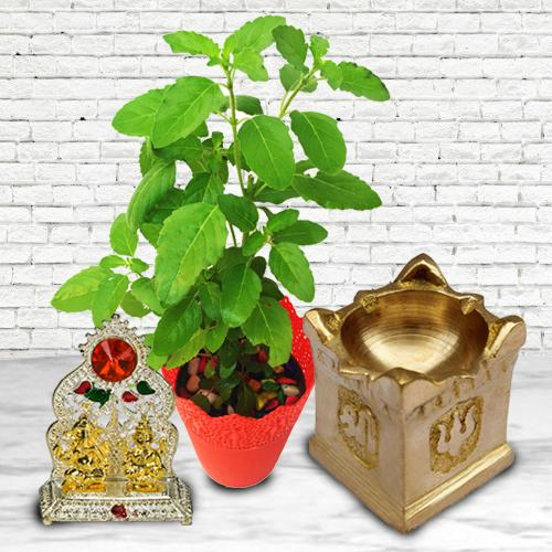 Outstanding Diya with Tulsi Plant N Ganesh Laxmi Mandap