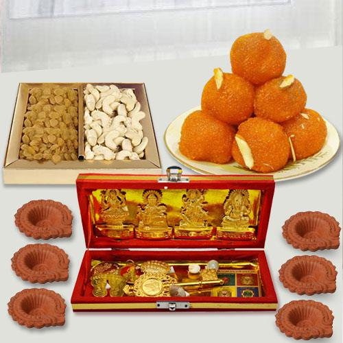 Auspicous Dhan Laxmi Kuber Yantra with Dry Fruits n Chocolates, Free Diya