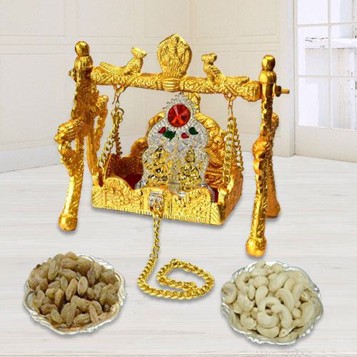Auspicious Laddu Gopal Swing Palana Combo Gift for Pooja