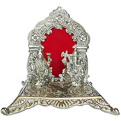 Exclusive Silver Plated Laxmi Ganesh in Mandap and Diya