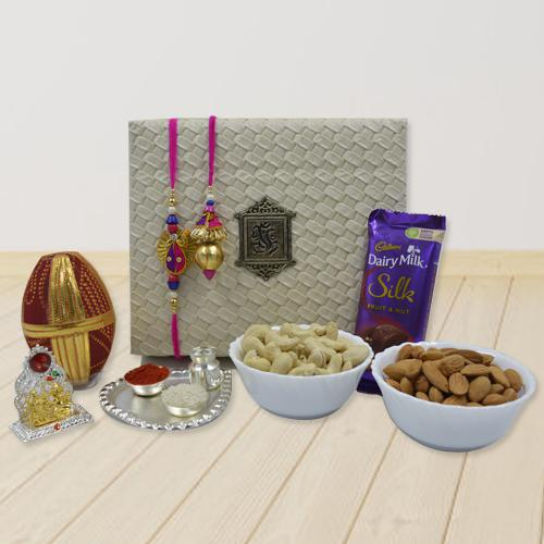 Fancy Lumba Rakhi Set with Pooja Items, Dry Fruits n Chocolate<br>
