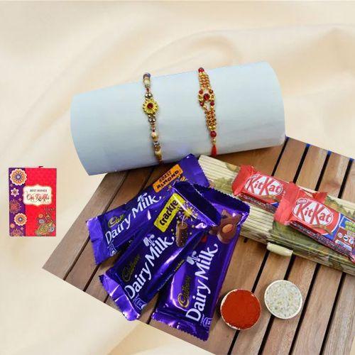 Fancy Golden Rakhi Set with Chocolates Hamper