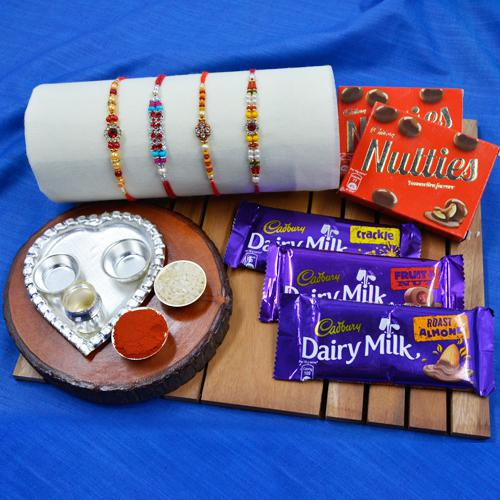 Cool 4 Stone Rakhi Set with Silver plated Puja Thali n Assorted Chocolates