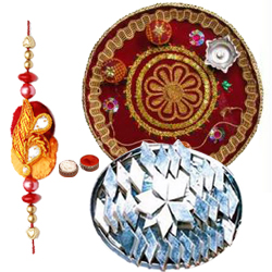 Arresting Gift of Appetizing Kaju Katli Haldirams Sweet and Wonderful Pooja Thali