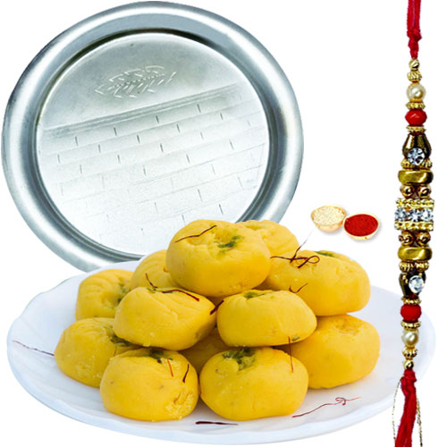 Lovely Gift of Heavenly Kesar Pedas from Haldirams and Enchanting Pooja Thali