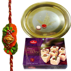 Feel-Better Gift of Outstanding Gold Plated Thali and Yummy Soan Papri of 100 Gms from Haldirams