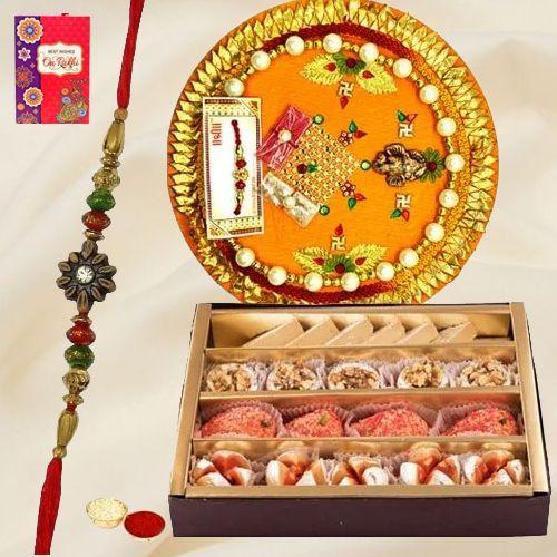 Tasty Haldiram Mixed Sweets and Designer Rakhi Thali