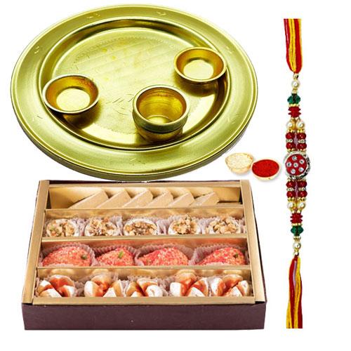 Haldirams Assorted Sweets N Silver Plated Rakhi Thali