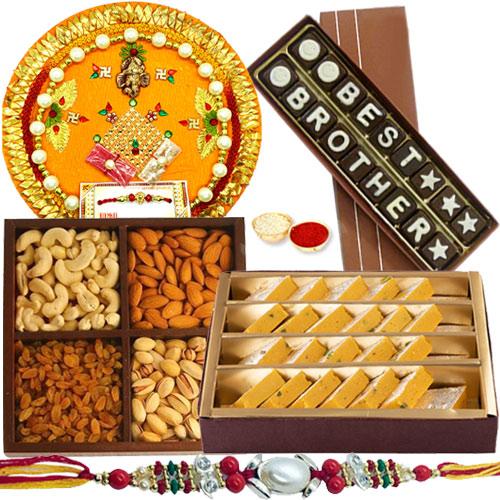 Astonishing Gift of Badam Barfi from Haldirams, Mixed Dry Fruits, Homemade Chocolate and Shree Thali