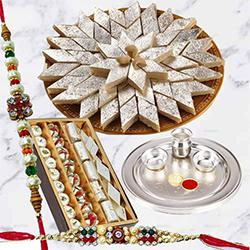 Special Gold Thali with <font color=#FF0000>Haldiram</font> Kaju Katli and Dry Fruits with Free Rakhi