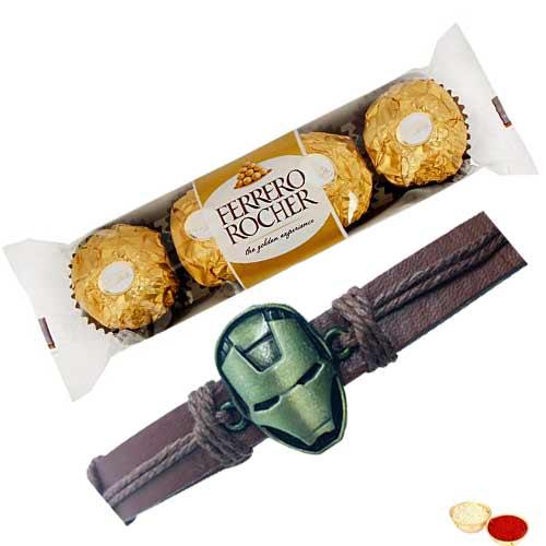 Wonderful Iron Man Rakhi with Ferrero Rocher Chocolates