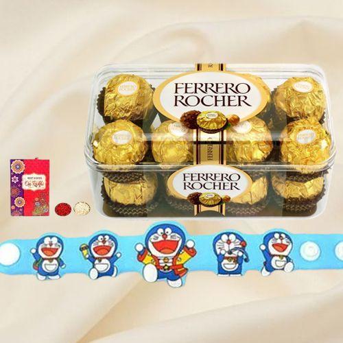 Remarkable Doraemon Rakhi with Ferrero Rocher