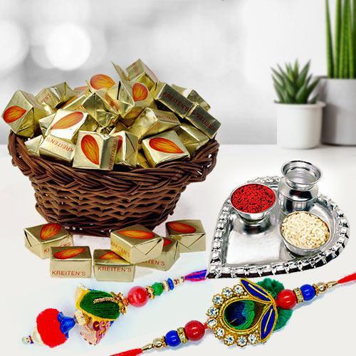 Almond Toffee n Silver Plated Puja Thali for Bhaiya Bhabhi