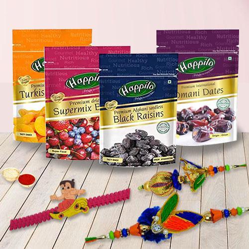 Rakshabandhan Gift with Family Rakhi Set n Happilo Imported Dried Fruits