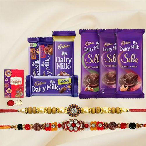 Assorted Cadbury With 2pcs Designer Rakhi Gift for Brother