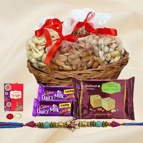 Astonishing Pearl Rakhi with Dry Fruits,  Chocolates n Sweets