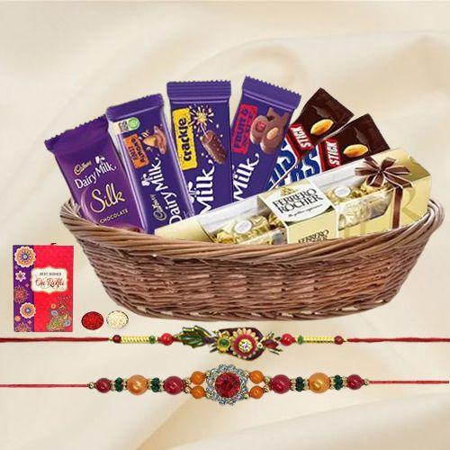 Ethnic Rakhi Pair with Assorted Chocolates n Ferrero Rocher