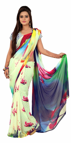 Charming Georgette Saree in Multicoloured Digital Design