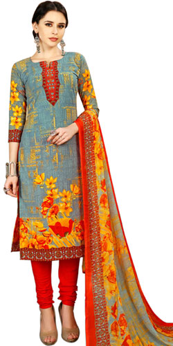 Charming Ladies Special Floral Print Spun Cotton Salwar Kameez Set