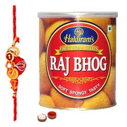 Special Rakhi Treat From Haldiram 1 Kg. Raj Bhog with Free wonderful Rakhi, Roli ,Tilak and Chawal