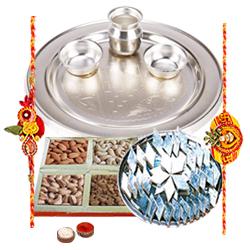 An amazing Silver plated Thali, Haldiram Kaju Katli, Dry Fruits with free Rakhi, Roli Tilak and Chawal