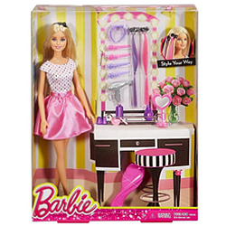 Stylish Hair N Make-Up Kit with Barbie Doll for Baby Girl