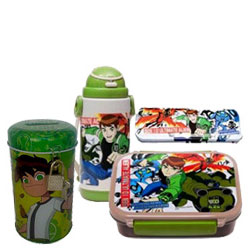 Outstanding Present of Ben 10 Coin Bank with Water Bottle and Tiffin Box N Pencil Box