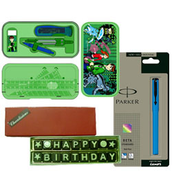 Attractive Combination of Parker Beta Pen with Ben 10 Geometry Box and Happy Birthday SMS Chocolate