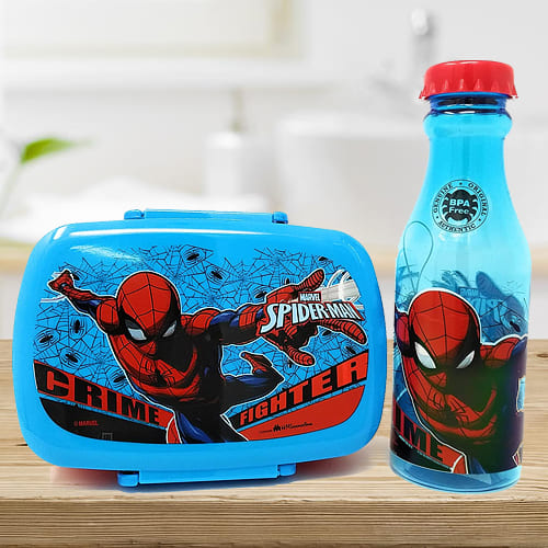 Alluring Spiderman Canteen Set of Water Bottle n Tiffin