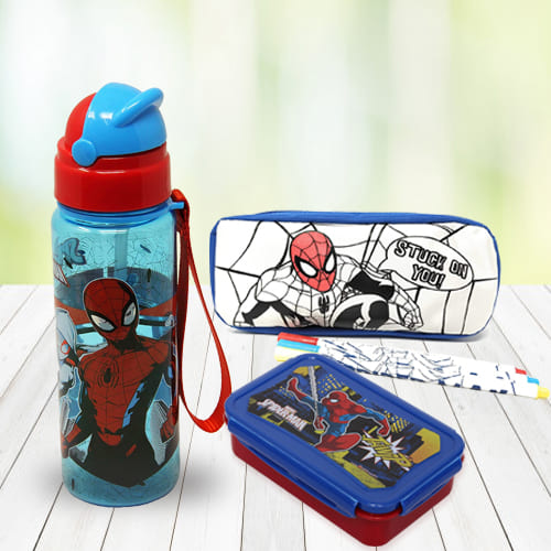 Striking Spiderman Stationery n Canteen Set