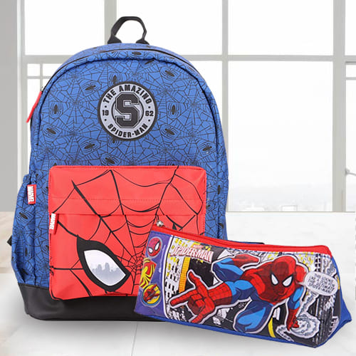 Alluring Spiderman School Bag n Pencil Box Combo
