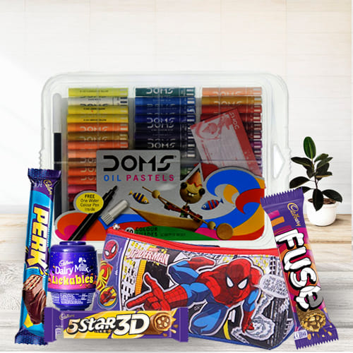 Lovely Spiderman Kids Stationery, Color Set n Chocolates Combo