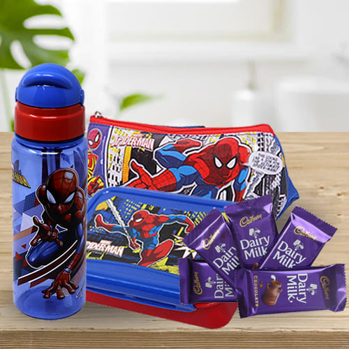 Marvelous Spiderman Kids Stationery, Canteen Set n Chocolate Combo