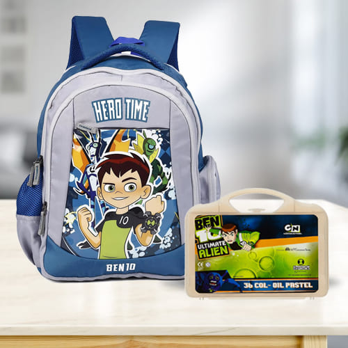 Lovely Ben 10 School Bag n Colouring Set