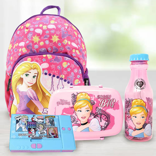 Exclusive Disney Cartoon Bag, Tiffin n Water Bottle Combo