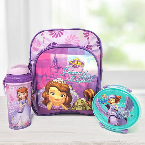 Marvelous Princes Sofia Backpack with Lunch Box and Sipper Bottle