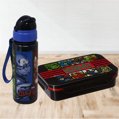 Alluring Avengers Tiffin Box n Sipper Bottle Combo