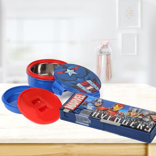 Wonderful Avengers Tiffin n Pencil Box Gift Combo