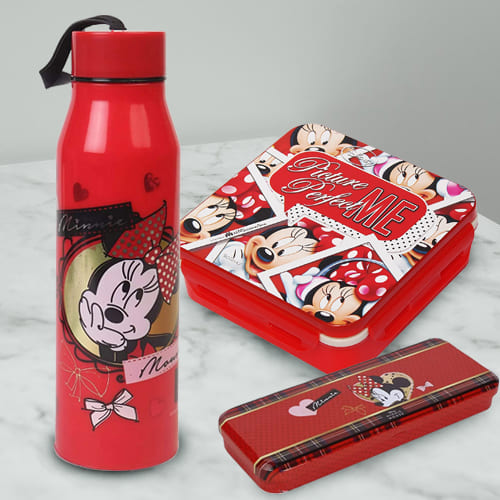 Mesmerizing Combo of Minnie Mouse Sipper Bottle, Pencil n Tiffin Box