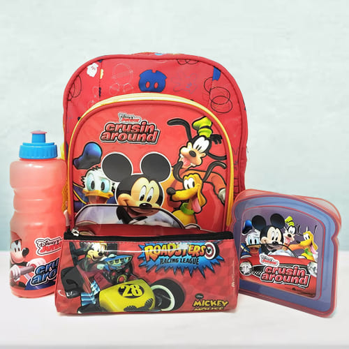 Exclusive Mickey Mouse Backpack, Lunch Box N Sipper Bottle Combo