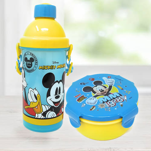 Wonderful Mickey Mouse Sipper Bottle n Tiffin Box Budget Combo
