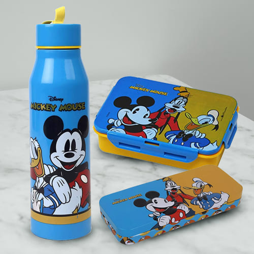 Lovely Mickey Mouse Sipper Bottle Tiffin n Pencil Box