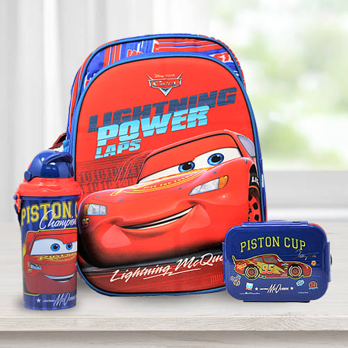 Amazing Cars Backpack with Lunch Box n Water Bottle
