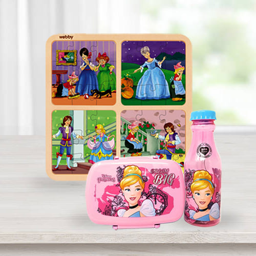 Mesmerizing Disney Cinderella Lunch Box n Water Bottle with Wooden Puzzle Combo