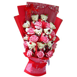 Marvelous Bouquet of Teddy N Roses