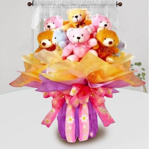 Wonderful Bouquet of Colorful Teddies