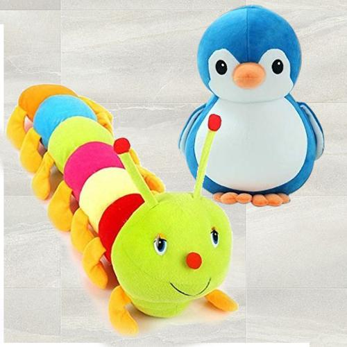 Marvelous Penguin N Caterpillar 2 pcs Soft Toy for Kids
